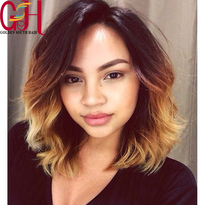 7a glueless ombre blonde bob full lace wigs short wavy. Black Bedroom Furniture Sets. Home Design Ideas