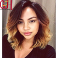 7A Glueless Ombre Blonde Bob Full Lace Wigs Short Wavy Bleached Knots Human Hair Lace Front Wig for Black Women Baby Hair Around