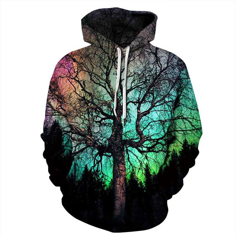 Galaxy Tree Print Hoodies Men Hoodie with Hat Round Neck Loose Sweatshirt Pullover Sudaderas Para Hombre Streetwear