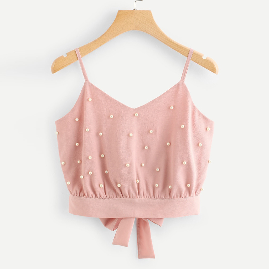 Summer Sexy Female Crop Tops Female Camisola Fashion Womens Vest Chiffon Camisole Sleeveless Tops Solid Pearl Beading Camis