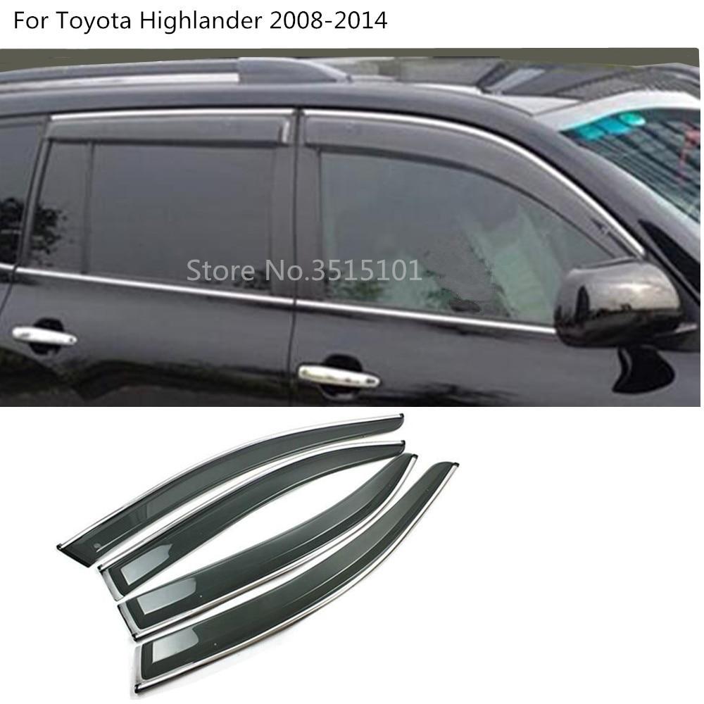 car cover Sticker Window glass Wind Visor Rain Sun Guard Vent 4pcs For Toyota  Highlander 2008 2009 2010 2011 2012 2013 2014 d141aab7dfd