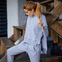 2016 Fall Cotton 2 Piece Set Tracksuit Women Sets Asymmetrical Hoodies Set Side Split Sweat Suits