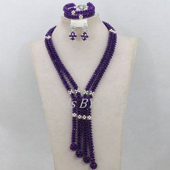 Handmade African Costume Jewelry Sets Nigerian Wedding Women Jewelry Sets Purple Crystal Beads Necklace Free Shipping ABF625