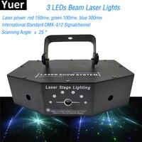 Профессиональная музыка Light 3 глаза лазерный луч 3 глаза RGB полный Цвет сканирования узор DJ Лазерный свет для дискотек кВт вечерние шоу ночно