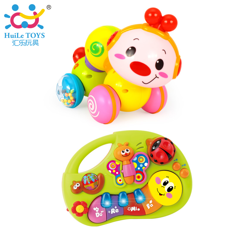 2pcs/Lot Baby Toys Musical Instruments Playing Set Colorful Educational Toys Piano & Creeping Worm with Music & Lights 927&997 puzzle multifunctional piano baby early education music hand drums intelligent piano toys