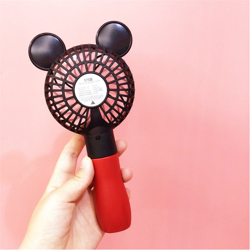 Cute Mickey Fan Portable Handheld With Rechargeable Built in Battery 800mA USB Port Handy Air Cooling Mini Fan For Smart Home