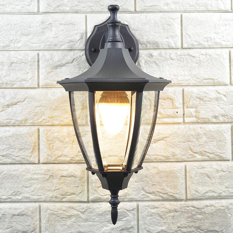 Lumières de porche noir/doré ajustant la lampe Antique de porche de jardin balcon extérieur lumières murales allée/couloir luminaire extérieur