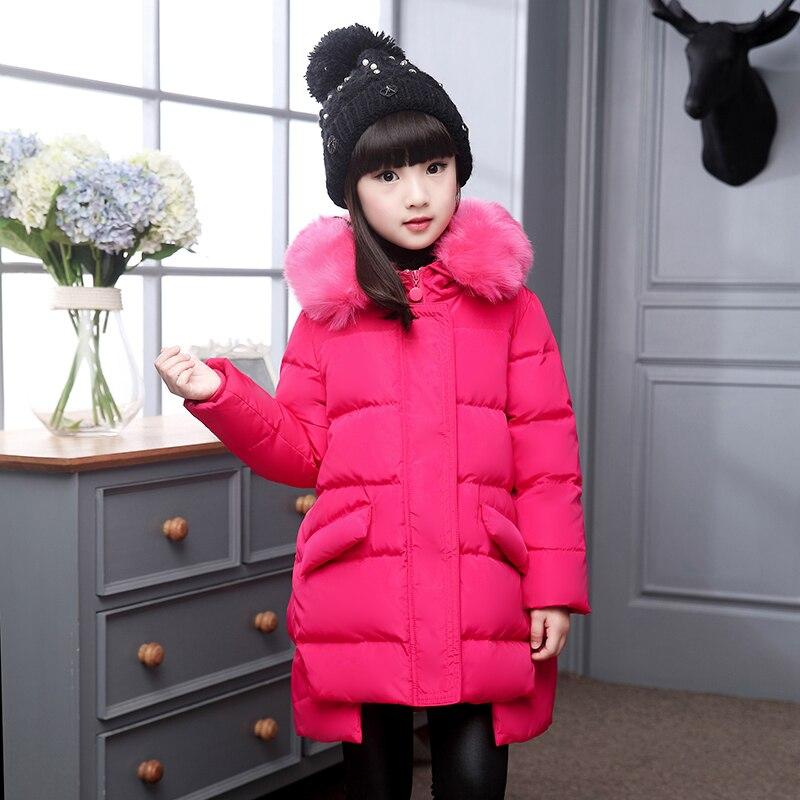 XYF8811 Girls Kids Winter Down Jackets Blue Long Sleeve Winter Jacket Coat Warm Outerwear 6-12Y Long Coat 85% White Duck Down цены онлайн