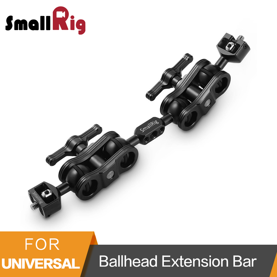 SmallRig BallHead Extension Bar for Magic Arms(1/4 Screws) With 2 BallHead Clamp To Mount LCD Monitor- 2109 smallrig dual aluminum camera articulating arm ballhead extension bar for magic arms 1 4 screws dslr monitor support 2109