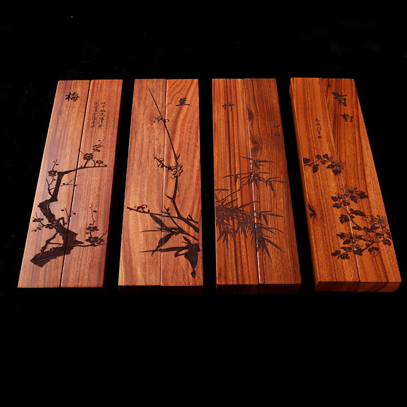 Calligraphy Wooden Paperweight Dragon Phoenix Chinese Painting Writing Drawing Black Catalpa Paperweights Collection Gift Set of 2
