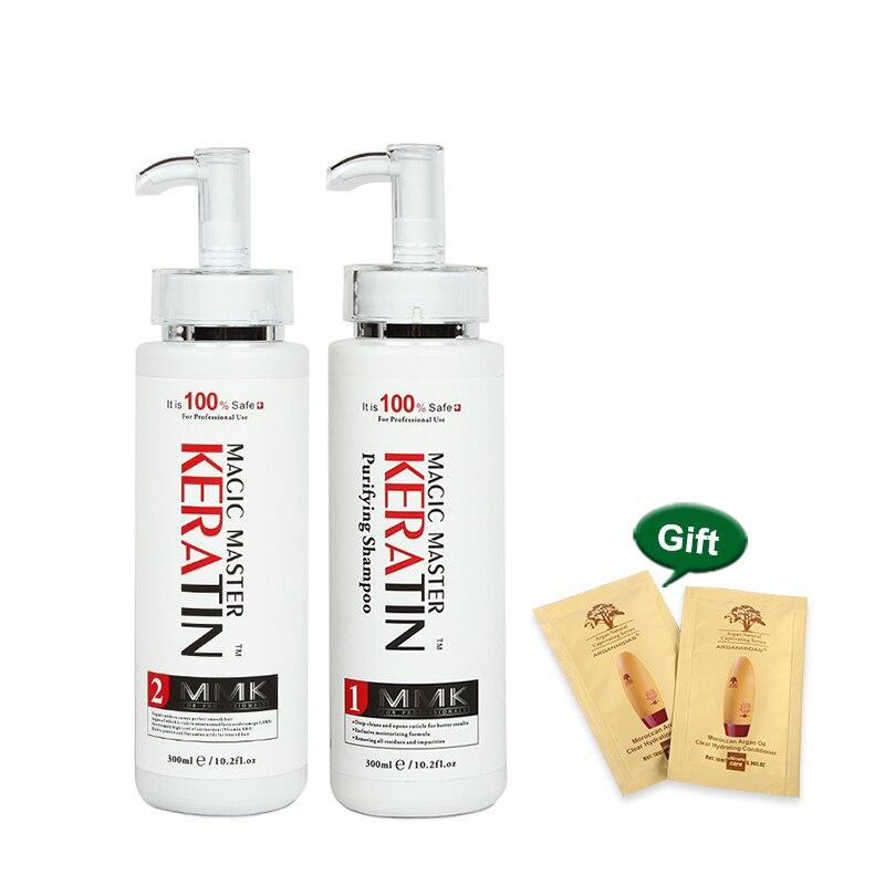 Best Selling Sem Formol Profissional Reparo Danificado & Mestre Queratina Alisar O Cabelo Magia 300ml + 300ml Shampoo Purificante
