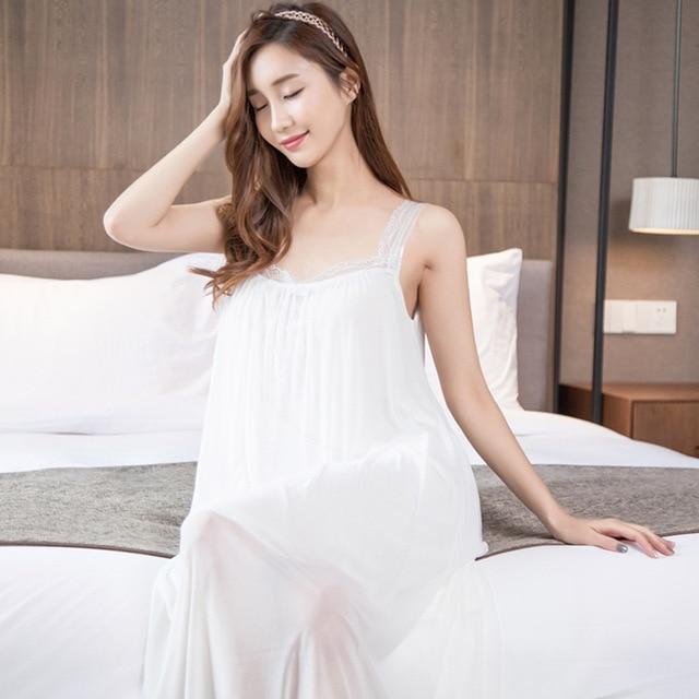 Attractif 2017 Femmes Robes nuit robe longue chemise de nuit blanche En  LR71