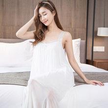 2017 Women Dresses night dress long white nightgown Chiffon ladies nightie  sleepwear Sexy Spaghetti Strap Home 24297665d
