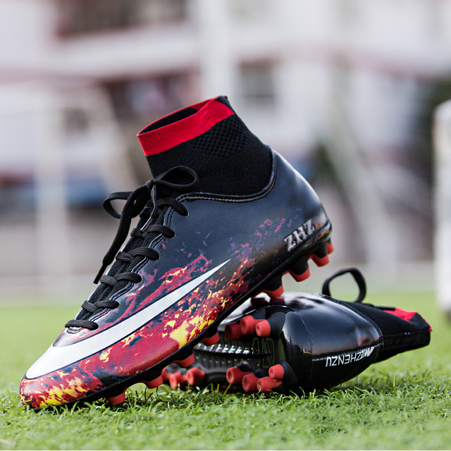 Men s Soccer Shoes Kids Superfly 6 Academy CR7 AG Football Boots High Top  Messi Sneakers Flame 2a1b9a7fe8b3
