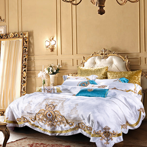 Image 2 - 800TC 4/6/10Pcs Satin Cotton Luxury Royal Bedding Set King Queen size Duvet cover Bed sheet set Wedding Bedspread Pillow shams
