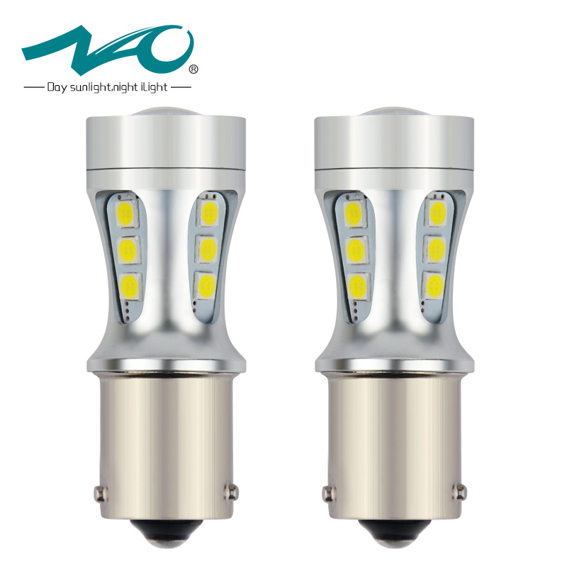 NAO 2x py21w led car Bau15s 1156 7507 light bulbs auto Rear Front Turn signals lamp side indicator light 12V 3030 18 SMD 1156PY new 2x80w 1156 bau15s 7507 py21w high power cree chips car led turn signal light bulb yellow