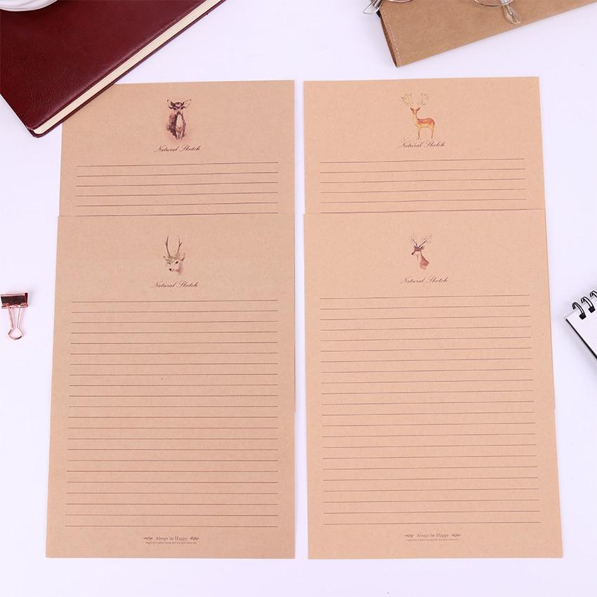10 листов маленькая олень крафт-бумага Письмо Бумага Винтажный стиль Письмо бумага мультфильм Животные письменная бумага школьные канцеляр...