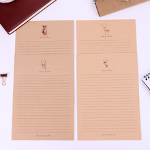 10 Sheets Small Deer Kraft Paper Letter Paper Vintage Style Letter Paper Cartoon Animals Writing Paper School Office Stationery