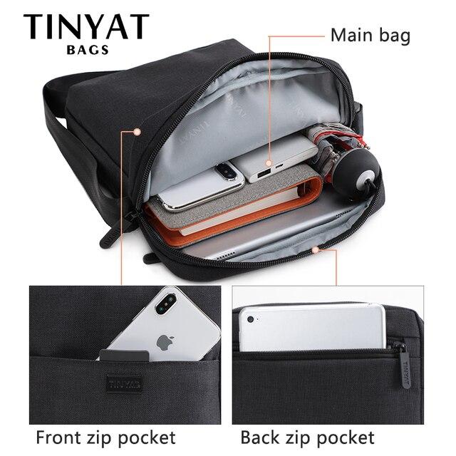 TINYAT Light Canvas Men's Shoulder Bag For 7.9' Ipad Casual Crossbody Bag Waterproof Business Shoulder bag for men 0.13kg 2