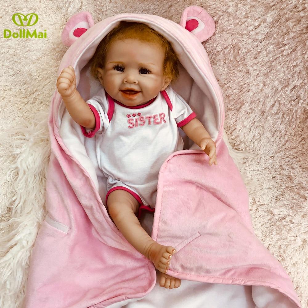 50cm Full Silicone Body Reborn Baby Doll Toy Like Real Girl Boneca Vinyl Newborn Babies Princess Bebe Alive Birthday Gift