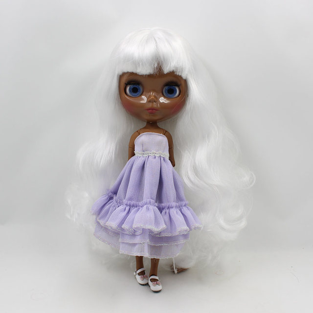 TBL Neo Blythe Doll Black Skin White Wavy Hair Jointed Body