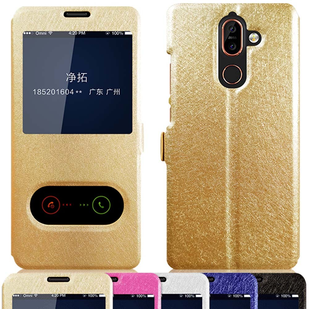 For Nokia 7 plus case cover for leather dual window view stand Slim flip Plus phone 6.0