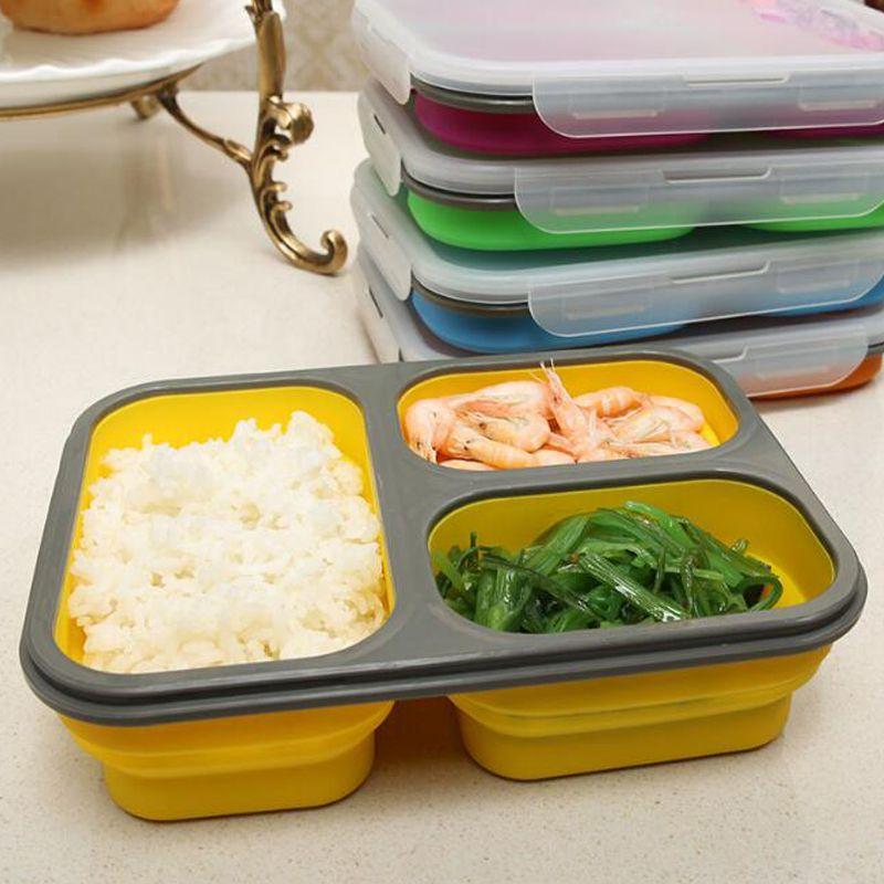 Boîte à Lunch Portable pliable en Silicone, bol de grande capacité boîte à Bento pliable de 1100ml
