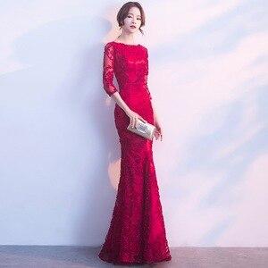Image 3 - DongCMY ロングフォーマルスリーブイブニングドレス Burgund 色 Vestido プラスサイズパーティー均等化ガウン