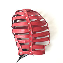 Hot Sex Product New Soft Leather Bondage Hood Headgear Face Mask Eyepatch Dog Slave Adult BDSM Bed Games Sex Flirting Toy