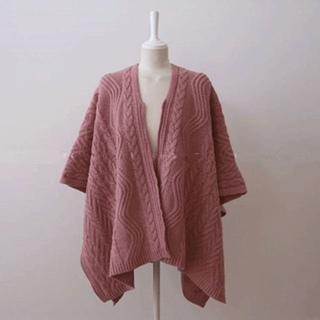 Cardigan Irregular Batwing Tops Knitted Poncho Sweater 3