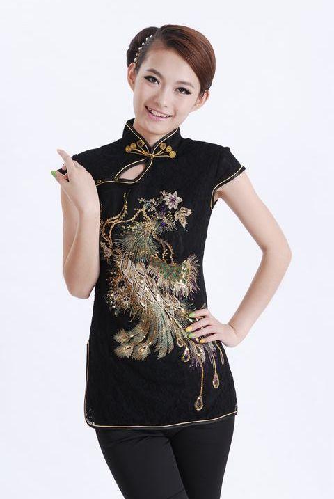 High Fashion Negro de Las Mujeres Chinas Camisa de Encaje Tops Phenix Totem Blus