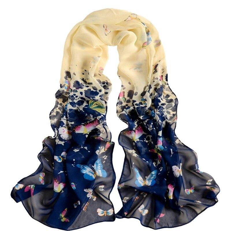 Soft Chiffon Scarves Butterfly Flower Print Scarf Women Long Shawls Female Lady Scarves Wrap Fashion Large Size 160*50cm