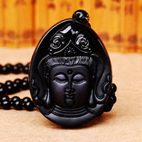 Wholesale Natural Stone Pendant Black Buddha Head Necklace Lucky Women Men S Natural Burmese Stone Buddha