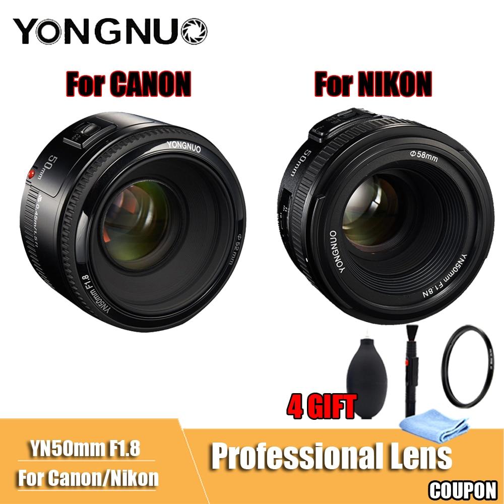 YONGNUO YN50mm объектив F1.8 большой апертурой автофокусом камера YONGNUO DSLR объектив для canon Nikon D800 D300 D700 D3200 D3300 D5100