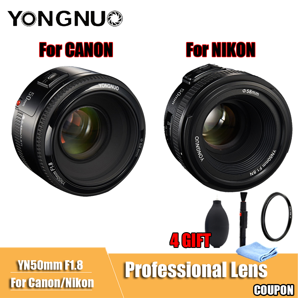 YONGNUO YN50mm lente F1.8 gran apertura de enfoque automático YONGNUO cámara réflex de lente para canon Nikon D800 D300 D700 D3200 d3300 D5100