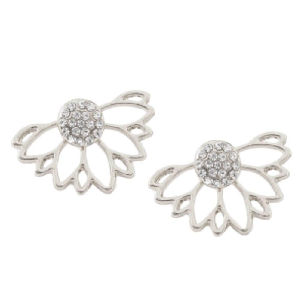 2017 Hot Sale Korean New Fashion Front Back Flower Lotus Stud Earrings For Women Fashion Jewelry
