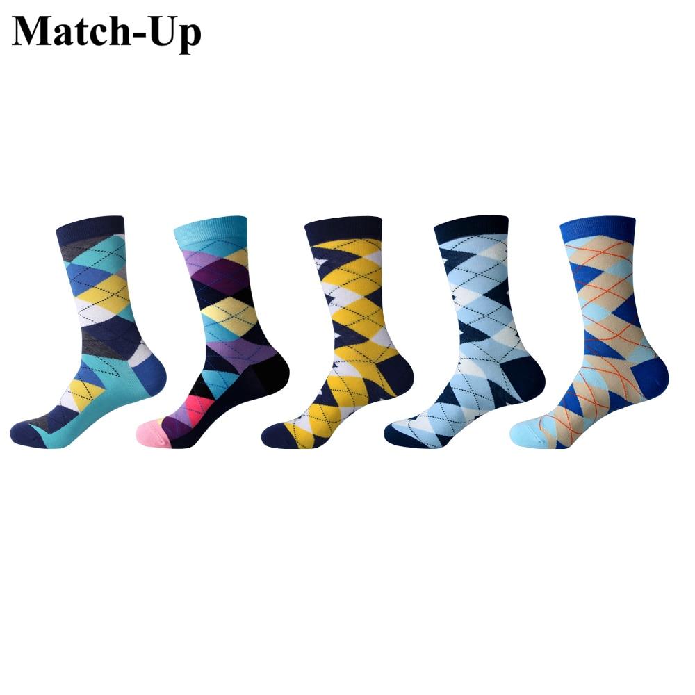 5 Pairs/lot Adaptable Match-up Mens Multicolor Men Socks Color Rhombus Diamond Socks Cotton High Quality Rhombus Us 7.5-12
