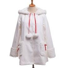Зимнее пальто для женщин и девочек с милым кроличьим кроликом и ушками с капюшоном; цвет красный, белый; пальто в стиле Лолиты с длинными рукавами; Верхняя одежда; Рождественский подарок