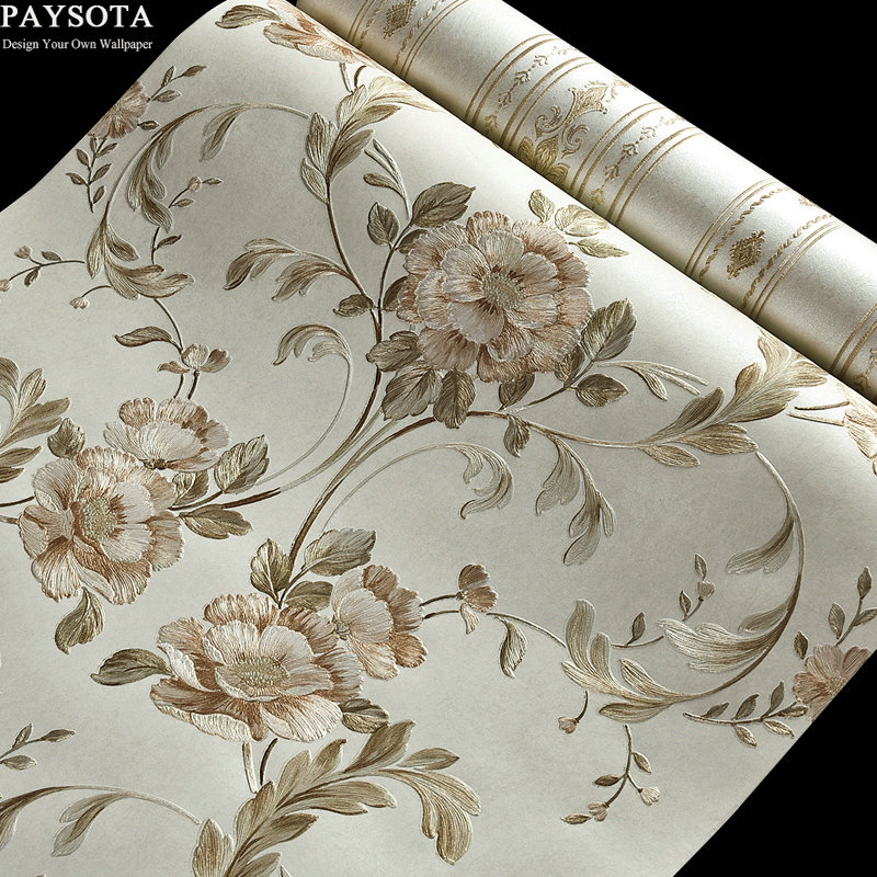 PAYSOTA Pastoral Big Flower Vertical Stripes AB Version Of The Wallpaper Sweet Bedroom Living Room Sofa TV Setting Wall Paper ночная рубашка the flower of love