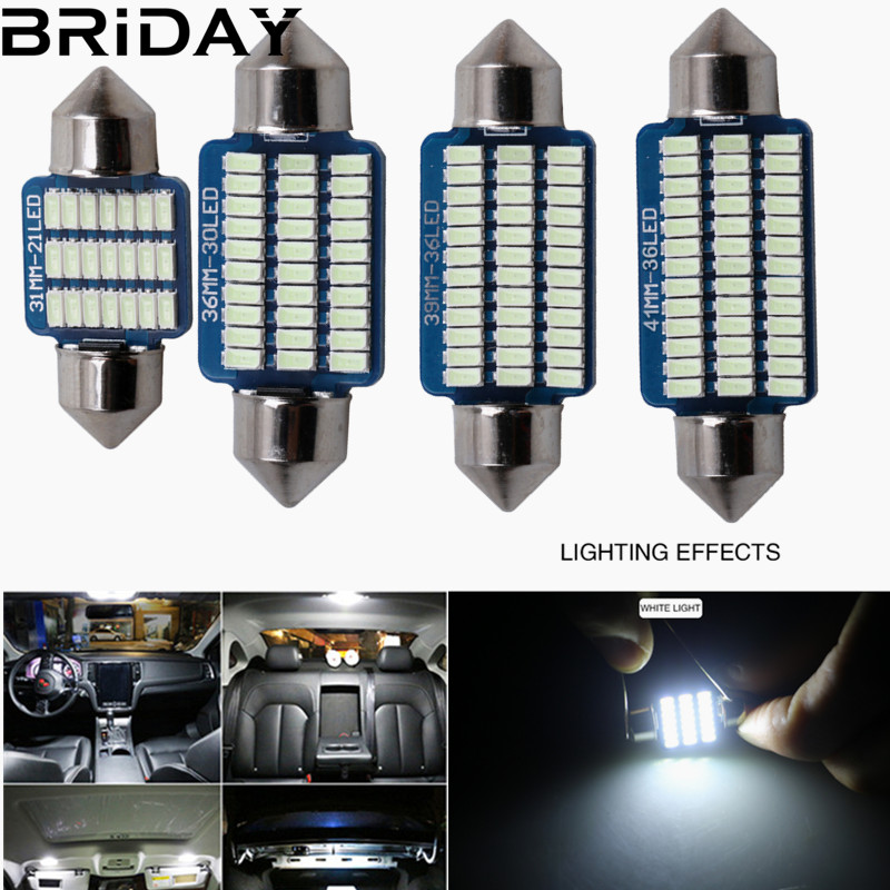 Festoon 31mm 36mm 39mm 41mm LED Bulb C5W C10W 3014 SMD Canbus Error Free Auto Interior Doom Lamp Car Styling Light white blue 2pcs festoon led 36mm 39mm 41mm canbus auto led lamp 12v festoon dome light led car dome reading lights c5w led canbus 36mm 39mm