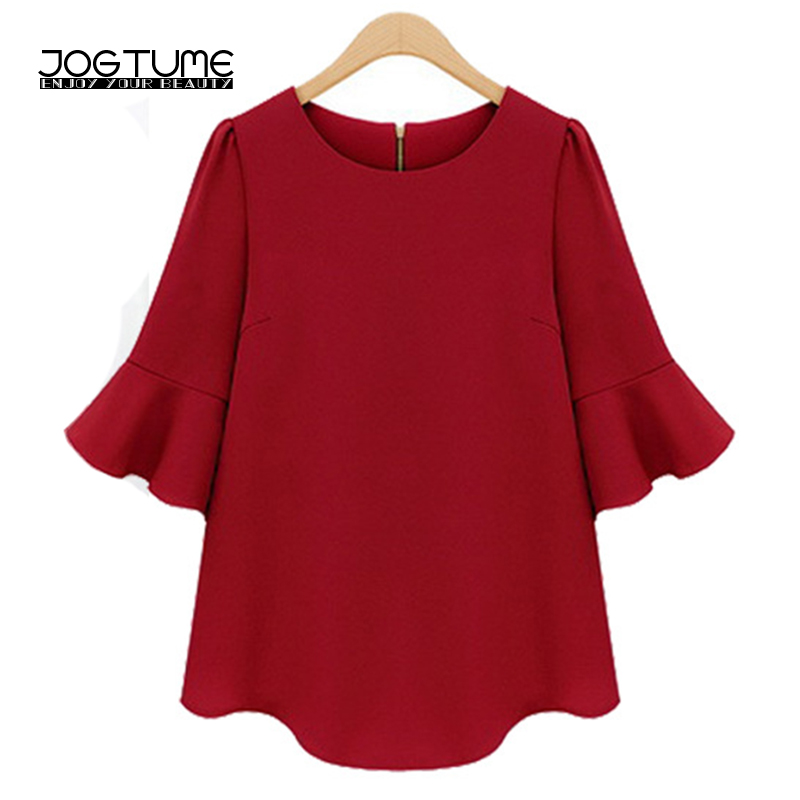 Womens Chiffon Blouse Summer 2019 New Arrived Ladies Fashion Shirts Solid Red Black Color Female Casual Loose Tops Plus Size 5XL