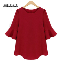Womens Chiffon Blouse Summer 2018 New Arrived Ladies Fashion Shirts Solid Red Black Color Female Casual Loose Tops Plus Size 5XL
