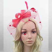 Wedding Hair Net Feather Fascinator Bridal Face Veil Headpiece Headwear Red(China)