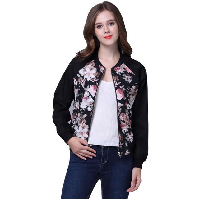 Outono Inverno Mulheres Jaqueta Bomber Casual Floral Pirnt Senhoras Casaco jaqueta feminina Básica Fino Incrível 2016