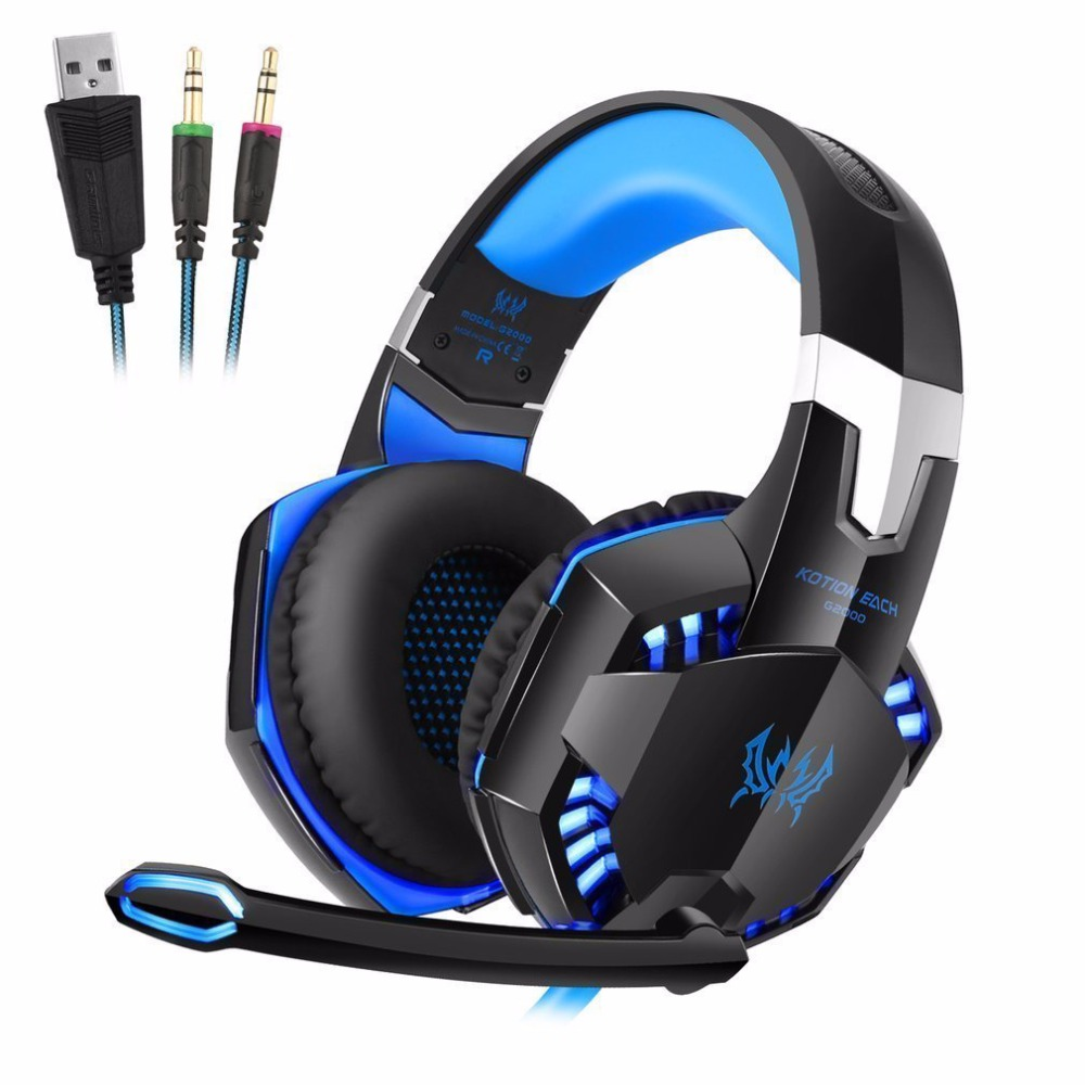 KOTION EACH 3.5mm Stereo Gamer Gaming Headset PC Headphones For Computer With Microphone LED Light Deep Bass Earphone kotion each series gaming headset g2000 g2100 g2200 g4000 g9000 deep bass stereo headphones with mic 2 2m wired earphone for pc