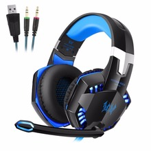 KOTION EACH 3.5mm Stereo Gamer Gaming Headset  PC Headphones For Computer With Microphone LED Light Deep Bass Earphone