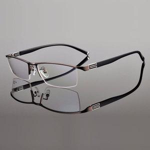 Image 5 - 유연한 템플 암이있는 reven jate 티타늄 합금 프론트 림 안경 프레임 3 가지 옵션 색상의 반 무테 안경 프레임