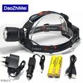 Rechargeable led Headlamp Zoom 5000lm waterproof headlight T6 light lamp Lantern +2*18650 5000 mah battery+1*Car AC charger+USB
