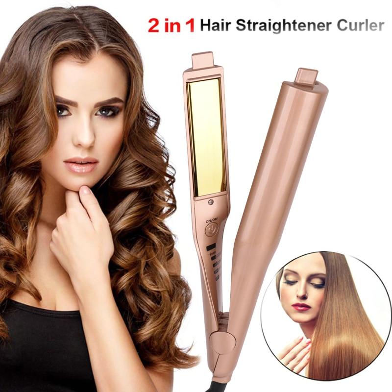 Gold 2 in 1 Richt Eisen Haar Curler Curling Eisen Professional Hair Curler Salon Qualität Haar Curling Richt Eisen