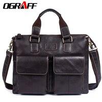 OGRAFF Men S Bag Genuine Leather Messenger Bags Crossbody Shoulder Bag Laptops Business Handbags Tote Bag